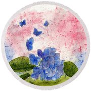 Butterflies Or Hydrangea Flower, You Decide Round Beach Towel