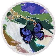 Butterfly Over Great Lakes Round Beach Towel