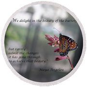 Butterfly Quote Art Print Round Beach Towel