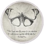 Butterfly Quote - The Little Prince Round Beach Towel