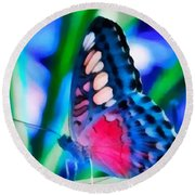 Butterfly Realistic Painting Round Beach Towel