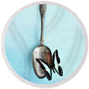 Butterfly Resting On Antique Spoon Round Beach Towel