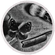 Butterfly Resting On Shaving Brush Black And White Round Beach Towel
