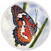 Round Beach Towel featuring the painting Butterfly - 171012 by Sam Sidders