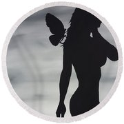 Round Beach Towel featuring the painting Butterfly Silhouette by Edwin Alverio