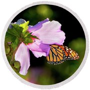 Butterfly Sunset Round Beach Towel by Betty LaRue