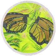 Butterfly Tango Round Beach Towel by Meryl Goudey