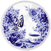 Butterfly Teatime Round Beach Towel