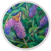 Round Beach Towel featuring the painting Butterfly View by Kendall Kessler