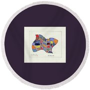Butterfly Watercolor Round Beach Towel by Fred Jinkins