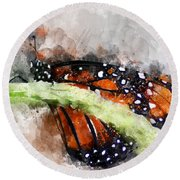 Butterfly Watercolor Round Beach Towel