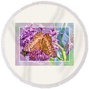 Butterfly Why Round Beach Towel by Shirley Moravec