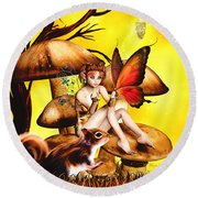 Butterfly Wing Envy Round Beach Towel