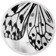 Butterfly Wings 3 - Black And White Round Beach Towel