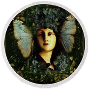 Butterfly Woman Round Beach Towel