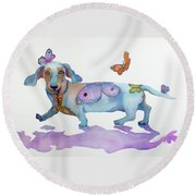 Butterfly Doxie Doo Round Beach Towel