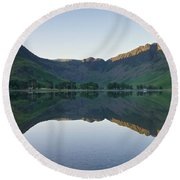 Buttermere Reflections Round Beach Towel by Stephen Taylor