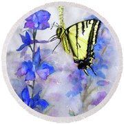 Butteryfly Delight Round Beach Towel