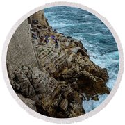 Buza Bar On The Adriatic In Dubrovnik Croatia Round Beach Towel