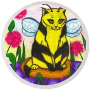 Buzz Bumble Bee Fairy Cat Round Beach Towel