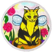 Buzz Bumble Bee Fairy Cat Round Beach Towel