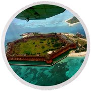 Buzzing The Dry Tortugas Round Beach Towel