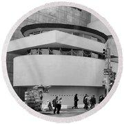 Bw Guggenheim Museum Nyc  Round Beach Towel