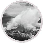 Bw Huge Wave Crashing On Tsitsikamma National Park South Africa Round Beach Towel