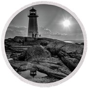 Bw Of Iconic Lighthouse At Peggys Cove  Round Beach Towel