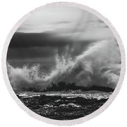 Bw Waves Crashing On Tsitsikamma South Africa With Clouds Round Beach Towel