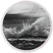Bw Waves Crashing On Tsitsikamma South Africa With Clouds Round Beach Towel
