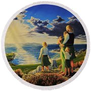 By God's Grace Round Beach Towel
