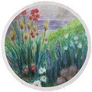 By The Garden Wall Round Beach Towel