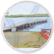 By The Lake Round Beach Towel by Joanne Perkins