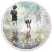 By The Light Of The Magical Moon Round Beach Towel