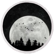 By The Light Of The Silvery Moon - Birds  Round Beach Towel