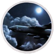 Round Beach Towel featuring the painting By The Light Of The Silvery Moon by Dave Luebbert