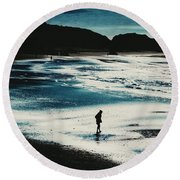 By The Light Of The Silvery Moon Round Beach Towel