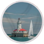 By The Lighthouse Round Beach Towel