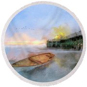 By The Pier Round Beach Towel