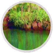 By The Pond Round Beach Towel by Karen Nicholson