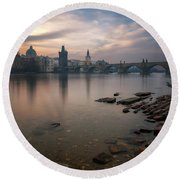 By The River Round Beach Towel