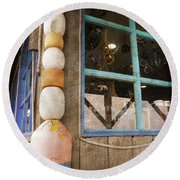 Round Beach Towel featuring the photograph By The Sea by Fran Riley