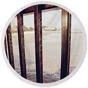 Round Beach Towel featuring the photograph By The Sea by Trish Mistric