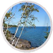 By The Shores Of Gitche Gumee Round Beach Towel