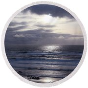 By The Silvery Light Round Beach Towel