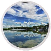 By The Still River Round Beach Towel