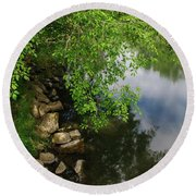 Round Beach Towel featuring the photograph By The Still Waters by Tikvah's Hope