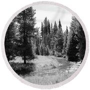 Round Beach Towel featuring the photograph By The Stream by Christin Brodie