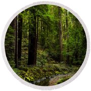 By The Stream In Muir Woods Round Beach Towel